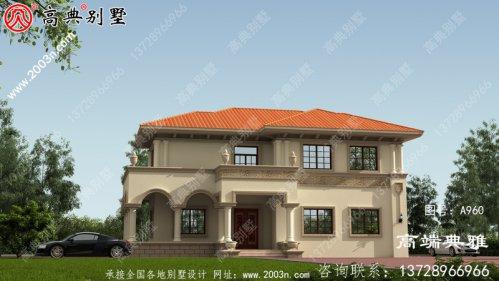 占地159平米的欧式两层别墅设计效果图,简单实