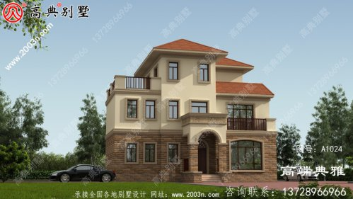 带阳台的三层新农村住宅别墅设计施工图及效果