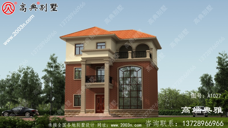 农村自建简欧三层别墅房屋设计图纸及效果图