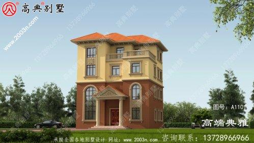 134平农村自建四层别墅建筑施工图及设计效果图