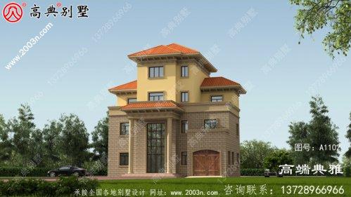 134平方米农村欧式四层别墅建筑设计及外部图纸