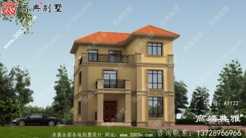 123平米三层豪华别墅设计工程图纸带外型图