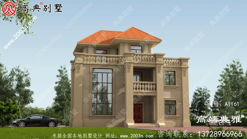 126平米乡村三层别墅建筑图纸及设计效果图