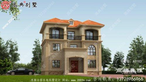 带露台的简欧三层房屋设计施工图及效果图