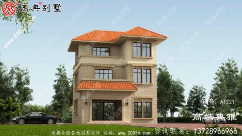 农村自自建欧式三层别墅设计建筑图纸带外型图