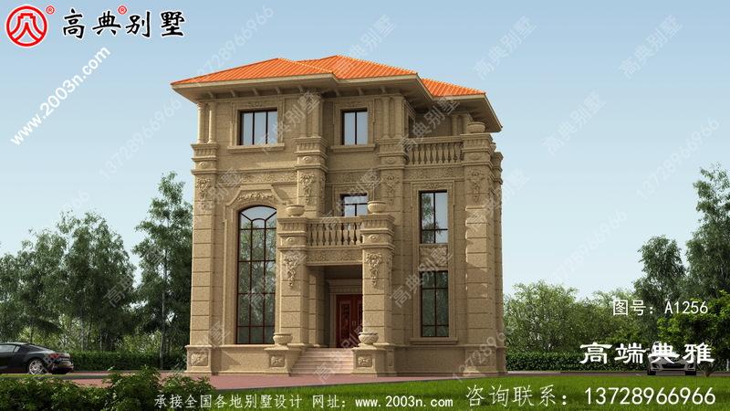 107平方米小户型三层自建别墅建筑设计CAD建筑图及效果图