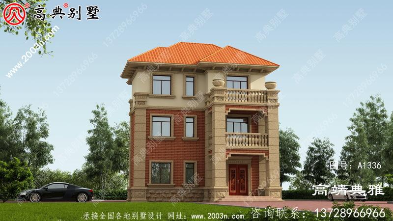 农村91平方米别墅建筑设计图纸及外观效果图