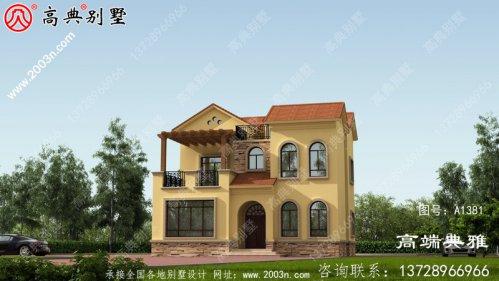 简欧农村自建二层别墅设计图及效果图,外观有