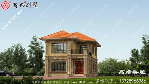 农村小型两层住宅及别墅设计图,外观效果图。