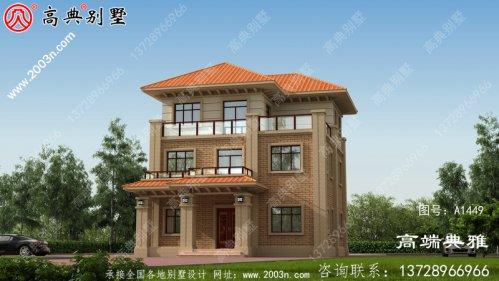 126平方米三层别墅设计建筑图纸和效果图