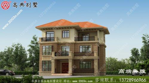 自建欧式三层别墅设计外观效果图,带四个阳台