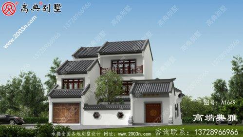 新农村自建中式三层住宅建筑设计图纸和外观图