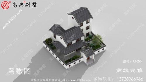 146平带院子的中式三层别墅施工图纸