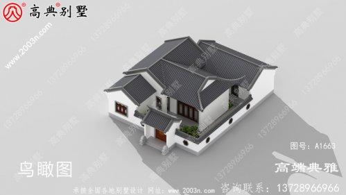 漂亮又简易的单层仿古式新中式四合院楼房设计