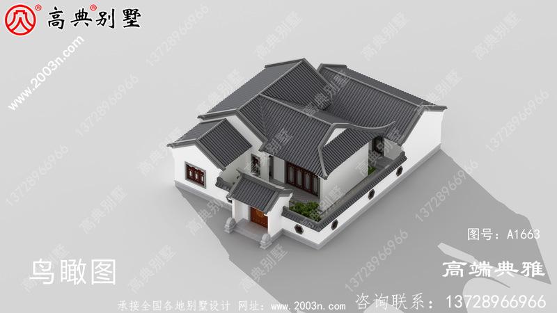 漂亮又简易的单层仿古式新中式四合院楼房设计图