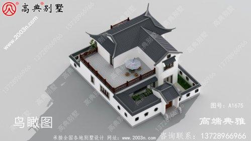 屋顶带大露台的中式二层别墅建筑设计图