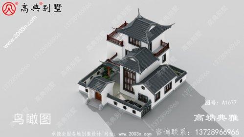 中式三层住宅别墅的施工设计CAD建筑图与效果图
