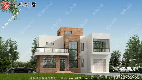 新农村现代三层住宅建筑设计CAD图纸与效果图