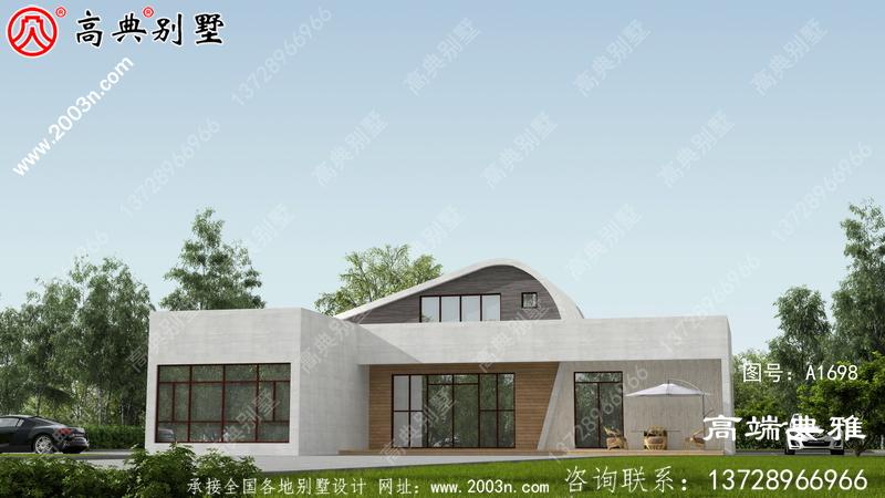 带有外观效果图的现代两层住宅设计图外观时尚。