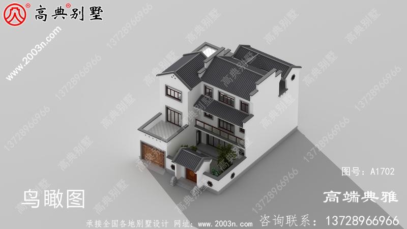 占地175平方米中式三层农村别墅建筑图纸和外立面图纸