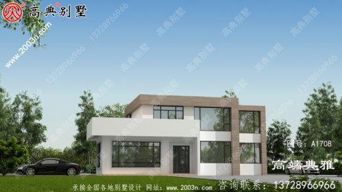 气派美观的平顶现代两层别墅房屋设计方案图
