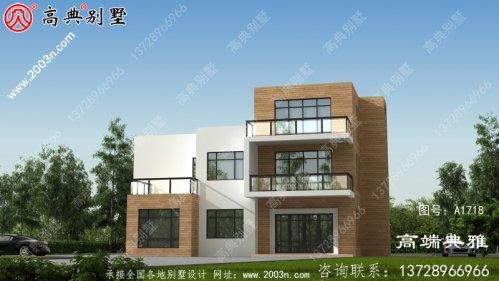 新农村带露台的三层自建房设计效