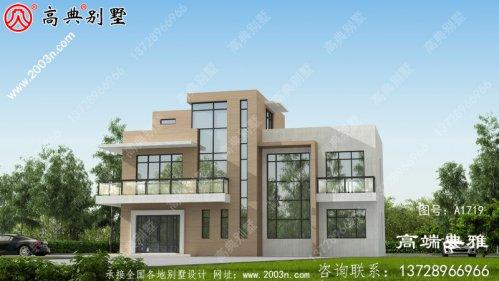 125平方米新农村自建三层别墅设计图纸及外观效