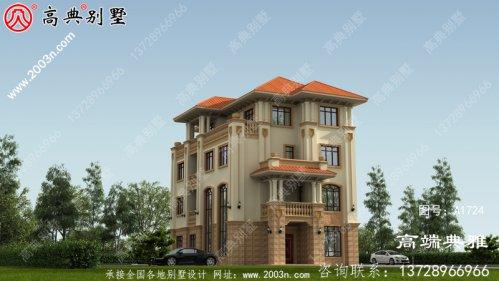 复式设计欧式三层别墅,设计纸带效果图