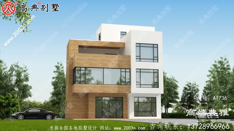 农村成套现代四层别墅设计图纸及外观图