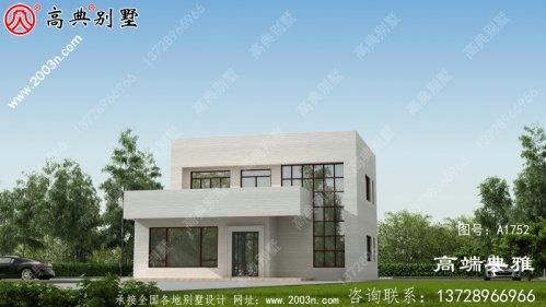 经济实用的二层现代别墅设计效果图,占地面积