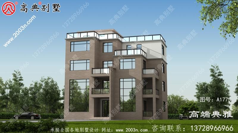 180平方米五层平顶现代别墅设计带外观效果图