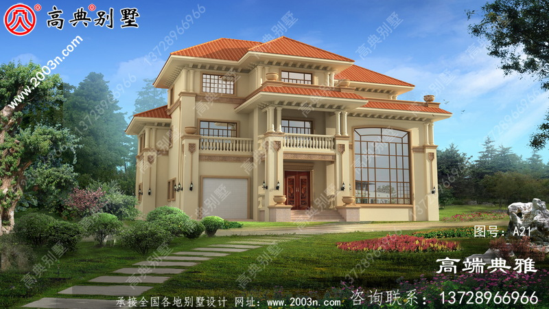 农村欧式三层别墅建筑设计图及效果图