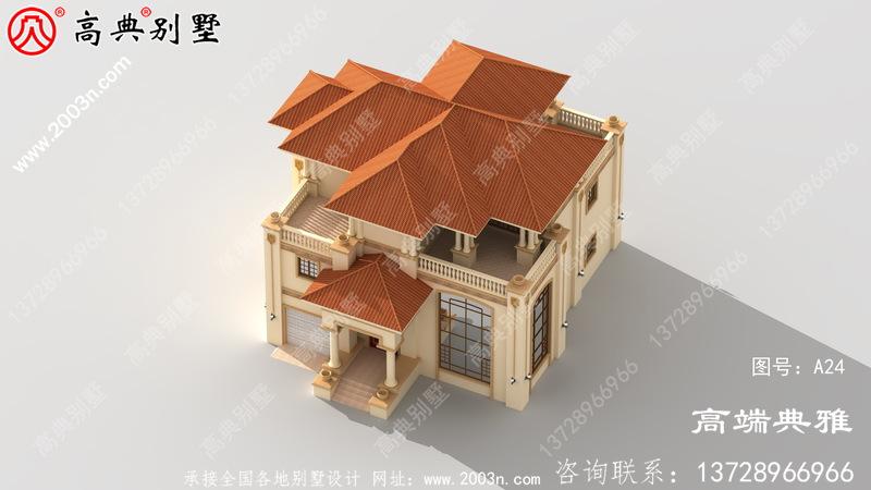 213平方米带车库的新农村三层别墅设计(含效果图)