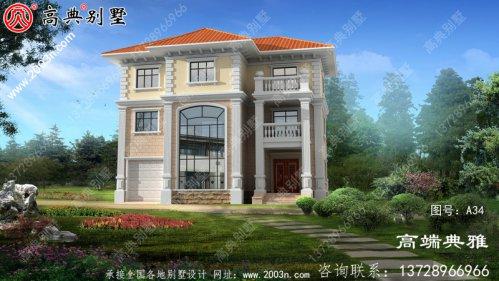 豪华欧洲别墅建筑设计图,有效图和一套施工图