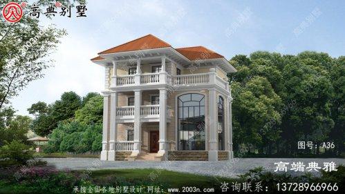 144平方米农村三层别墅建筑设计图纸及效果图