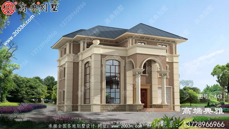 高端大气三层复式别墅住宅设计图带车库,包括外观效果图
