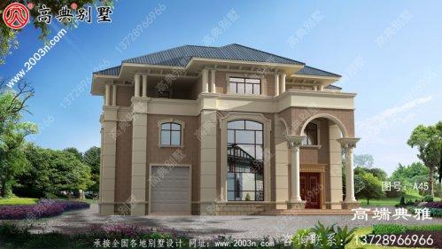 244平方米欧式三层别墅设计图。带车库