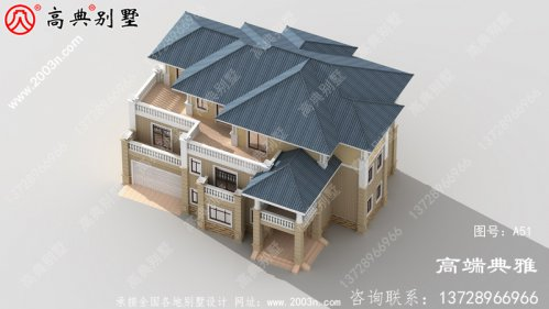 农村自建三层豪宅别墅设计图带车