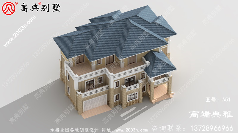 农村自建三层豪宅别墅设计图带车库