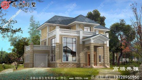 欧式三层建筑的设计面积为220平方米,客厅是中