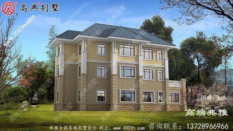 欧式三层建筑的设计面积为220平方米,客厅是中空的。