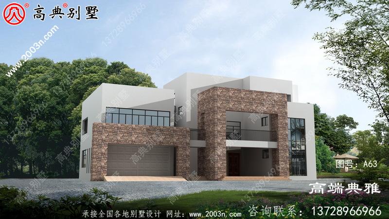 270平米三层现代新农村自建房别墅设计图,带停车位