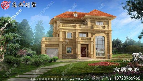 简欧复式三层别墅房屋设计图,外观图高端、大
