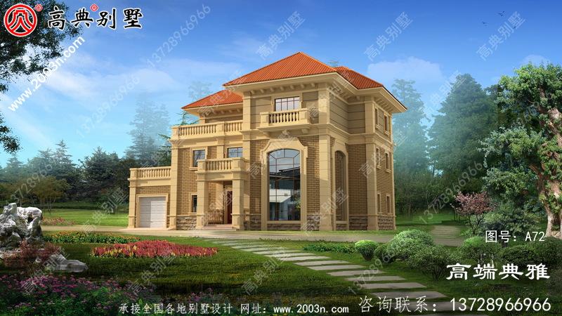 带车库的三层欧式别墅设计图,外观大气高档。