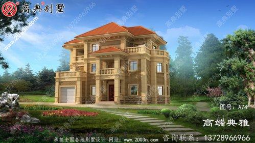 欧式三层别墅复式结构,客厅中空,外观效果图