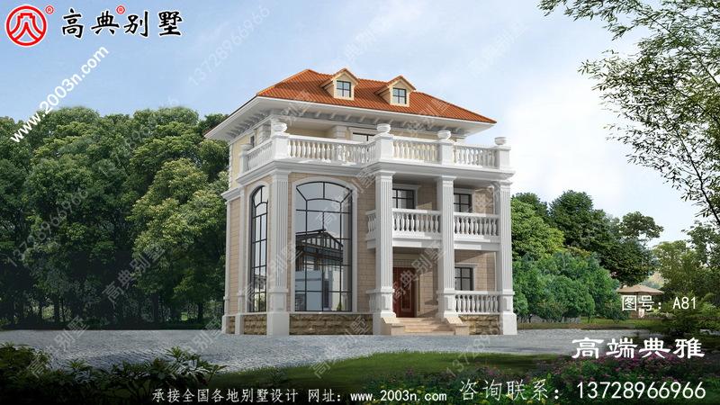 117平方米三层复式别墅设计,外观效果图