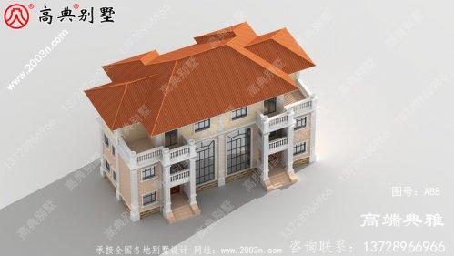双拼自建三层别墅房设计图,带屋顶露台