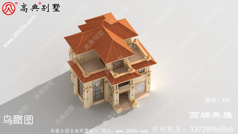新农村三层房屋设计图纸及效果图,带车库