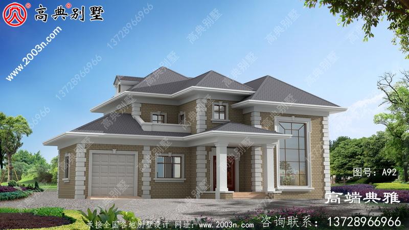 简单农村自建美式二层楼房设计图,南北通透