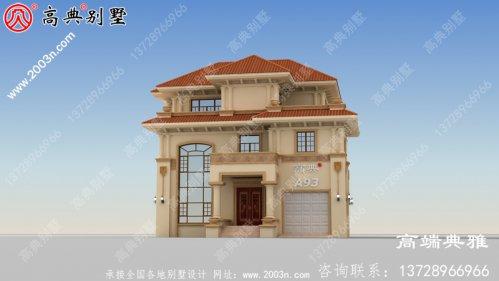 130平方米新农村三层别墅设计及效果图,带车库